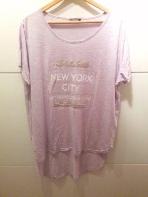 Camicia oversize argento-malva