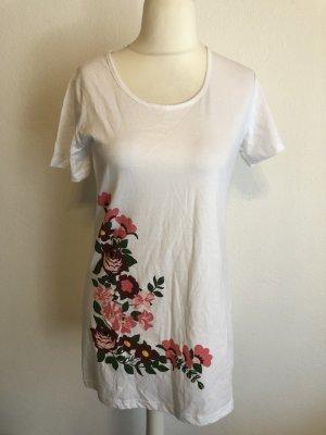 Shirt Longshirt T-Shirt weiß mit Print Gr. 40/42