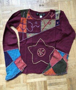 Shirt Longsleeve Baumwolle dunkelrot Stickerei Ärmel Patch himbeerrot neonblau Gr. S