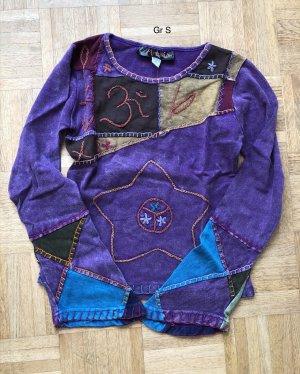 Handmade Longsleeve dark violet-neon blue cotton