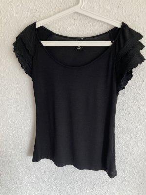 Shirt mit 3lagigen Spitzen-Ärmelchen, schwarz, Gr. M