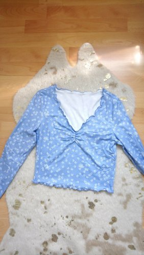 SheIn V-Neck Shirt white-light blue