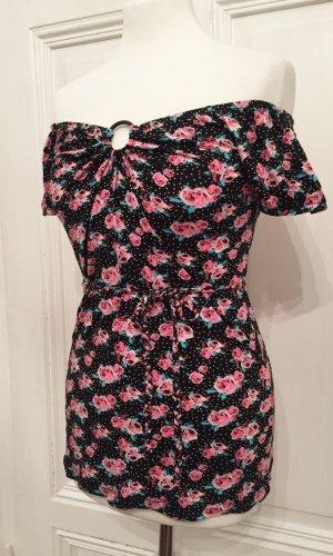 Shirt mit Blumen & Punkten und geflochtenem Gürtel / Band NEU