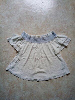 C&A Clockhouse Koszula typu carmen biały-stalowy niebieski