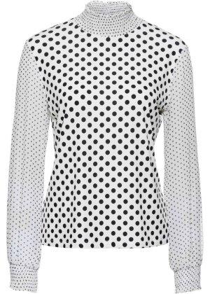 BODY FLIRT Blouse à manches longues noir-blanc polyester