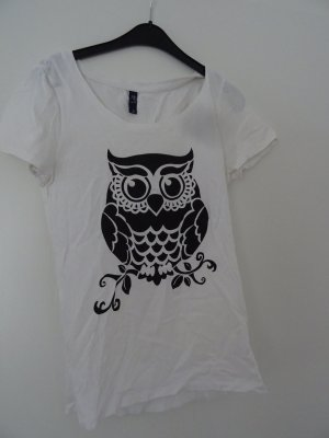 Shirt mit Eule weiß Gr S