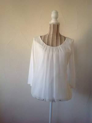Shirt mit fließendem Voile-Vorderteil und 3/4-Ärmeln
