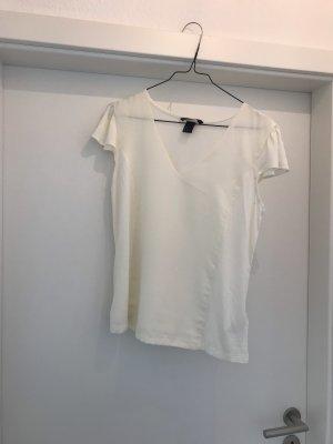 Shirt mit Flügelärmelchen und V-Ausschnitt