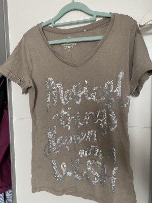 Shirt mit Glitzer Schrift 36/38