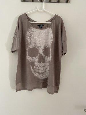 Shirt mit Glitzer und Totenkopf