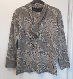 Bluzka z kokardą szary-kremowy Poliester