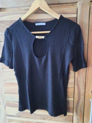 Zara Ribbed Shirt black cotton