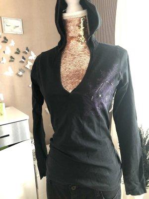 Top à capuche noir-violet