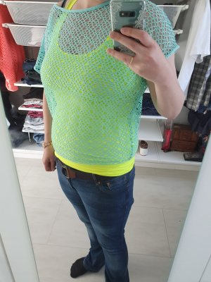 Blind Date Camisa de malla amarillo-azul