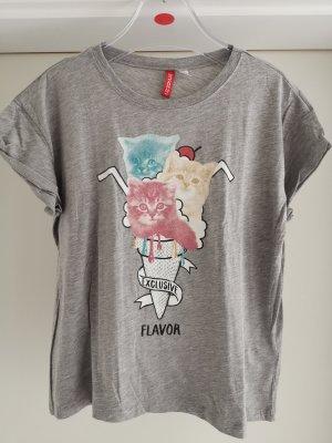 Shirt mit Print Katze und Slogan Gr. S