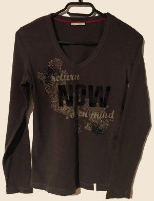 Shirt mit Printmotiv, langärmlig, V-Schnitt, Gr. S