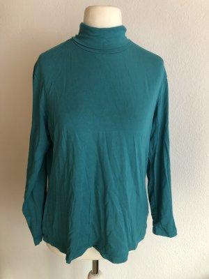Shirt mit Rollkragen Langarmshirt Basic türkis Gr. 46