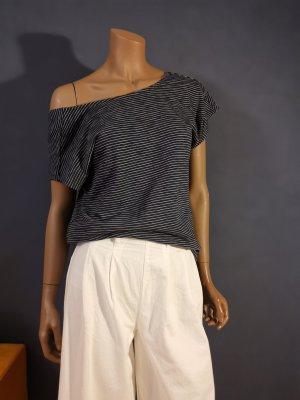 Esprit Boatneck Shirt white-dark blue cotton