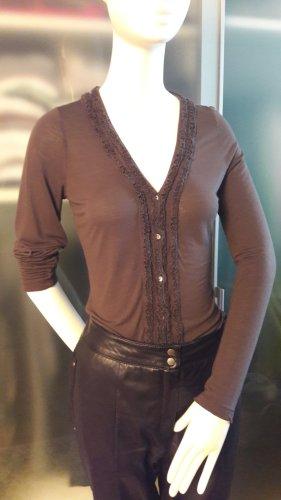 René Lezard V-Neck Shirt dark brown modal fibre