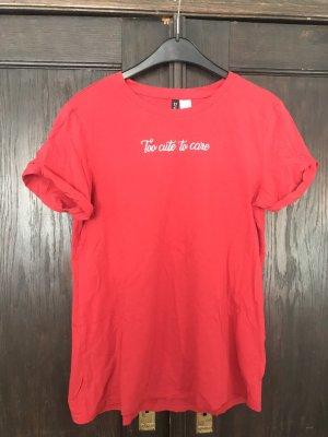 H&M T-shirt czerwony-biały