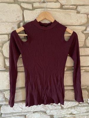 Amisu Prążkowana koszulka purpurowy