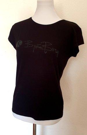 Shirt mit schwarzen Ziersteinen und Print Gr 38