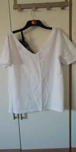 Camicia monospalla bianco-nero