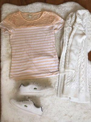 Prążkowana koszulka nude-jasnobeżowy