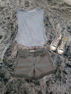 Shirt mit spitze blau grau