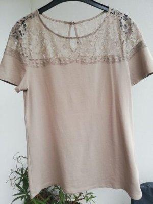 Shirt mit Spitzeneinsatz, Gr. 40 taupe