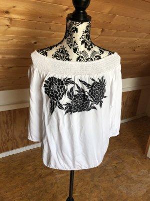Carmen shirt wit-zwart Viscose