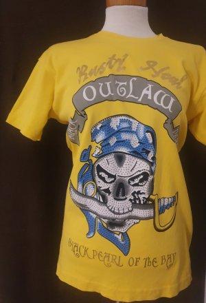 shirt mit Totenkopf aus glitzersteinen