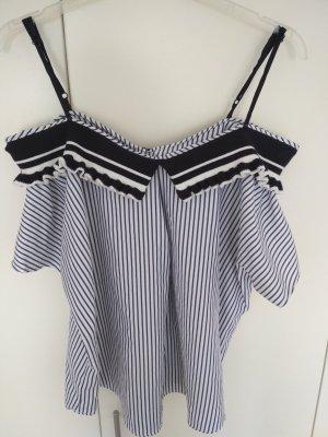 Sweewe Carmen shirt wit-donkerblauw
