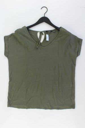 Shirt mit V-Ausschnitt Größe 44/46 Kurzarm olivgrün aus Leinen