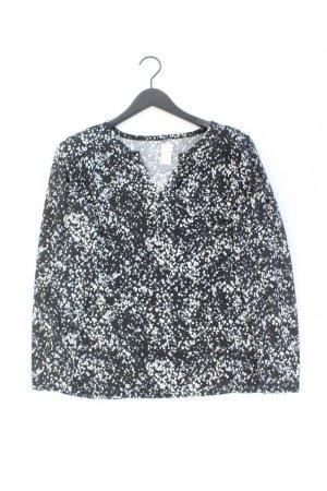 Shirt mit V-Ausschnitt Größe 44 gepunktet Langarm schwarz aus Polyester
