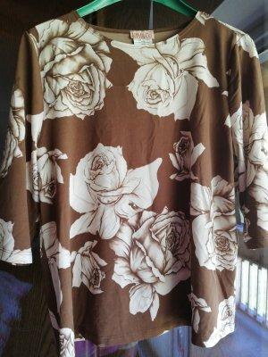 Kim & Co Boatneck Shirt brown-natural white polyester