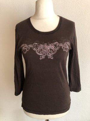 Shirt Oberteil 3/4 Ärmel Basic braun Gr. 38