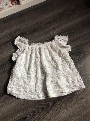 Shirt Oberteil spitze offshoulder schulterfrei weiß zara