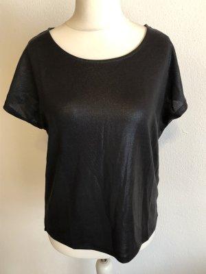 Shirt Oberteil T-Shirt locker schwarz glänzend Gr. S NEU mit Etikett