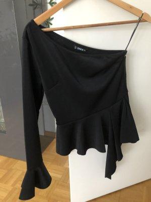 SheIn One Shoulder Shirt black polyester