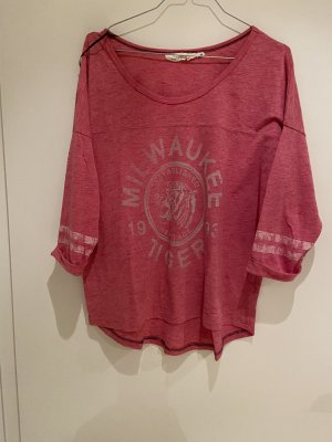 H&M Oversized Shirt white-raspberry-red