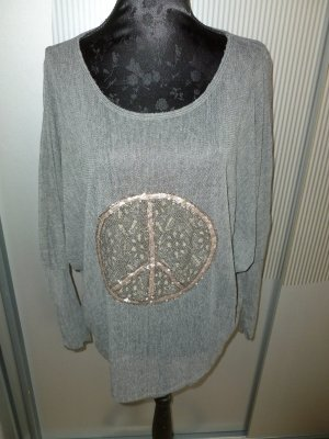 Shirt Peace grau Pailletten Made in Italy
