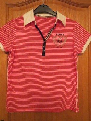 Shirt, Poloshirt, gestreift, rot-weiß, Gr.38/S