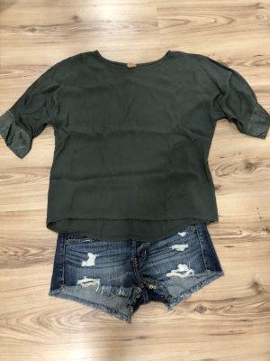 Sweter z krótkim rękawem khaki-oliwkowy