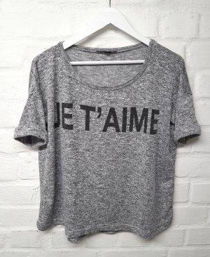 Shirt Pullover Grau meliert Tally Weijl Printmuster Gr. M