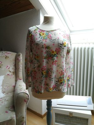 Shirt Pullover leicht floral bunt Strick Feinstrick
