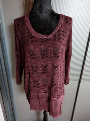 Shirt Pullover lila Spitze Pailletten Made in itlay