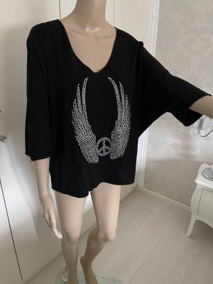 T-shirt col en V noir-argenté