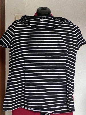 Koszulka w paski biały-ciemnoniebieski Elastan