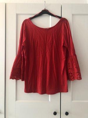 Shirt rot mit spitze am Ärmel